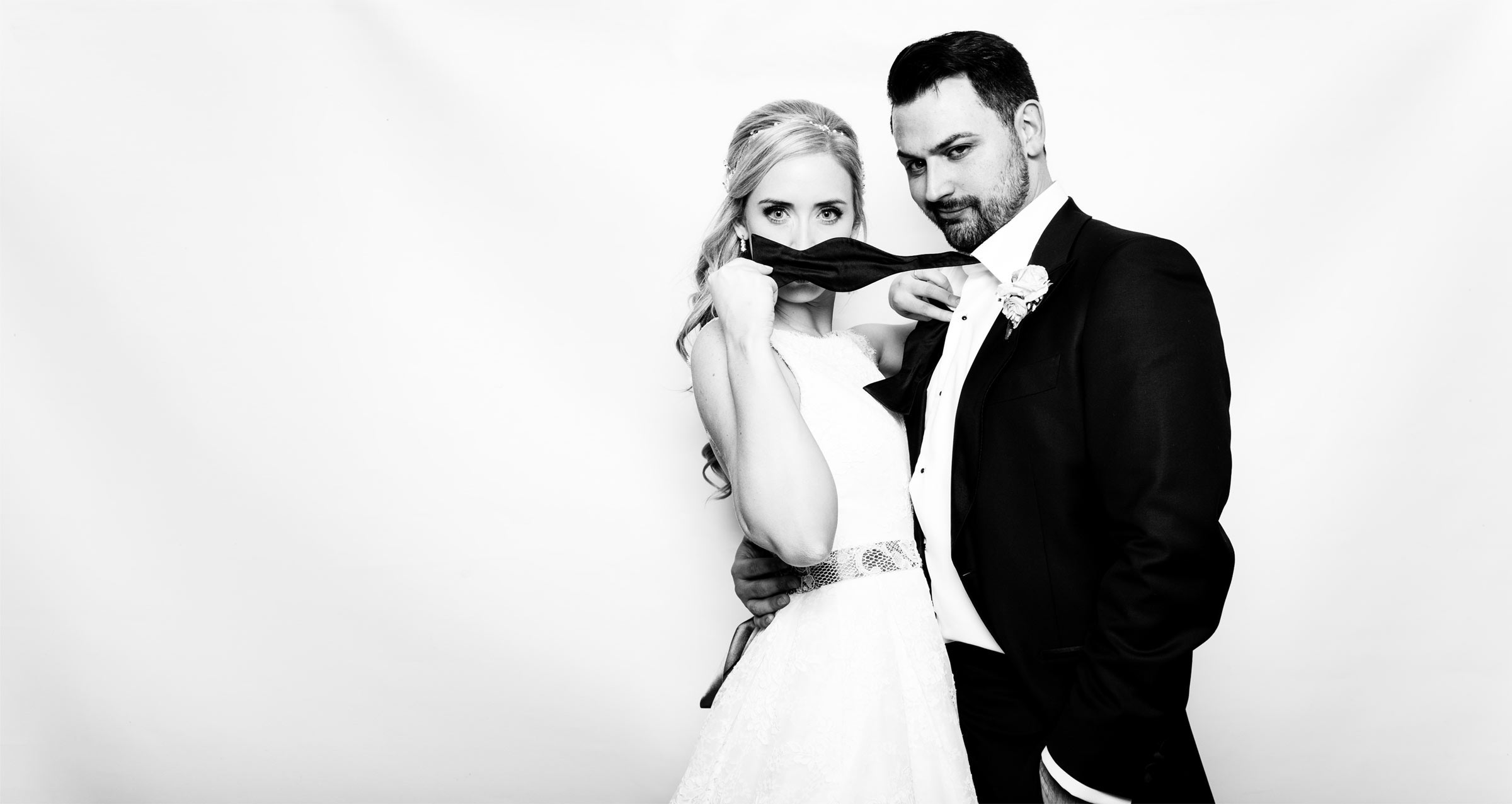 black and white photo booth wedding couple